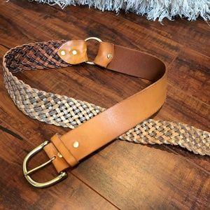 Vintage BOHO BRAIDED Tan Leather Brass Belt M
